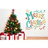 Decal Style Merry Christmas Wall Sticker Large Size- 30*30 Inch Color - Multicolor