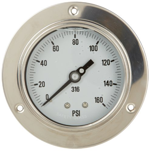 Pic gauge l d glycerin filled back mount pressure