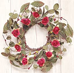 Rustic Rose Mini Wreath Red Tea Roses Burgundy Green Pip Berries Eucalyptus Country Floral Décor