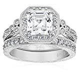 Platinum-Plated Sterling Silver Swarovski Zirconia Asscher Cut Antique Ring Set, Size 7