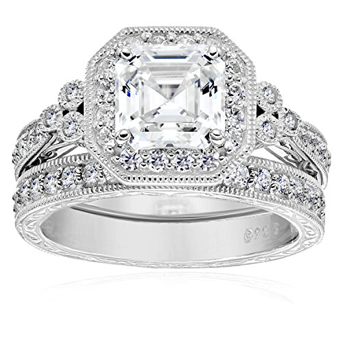 Platinum-Plated Sterling Silver Swarovski Zirconia Asscher Cut Antique Ring Set, Size 7 (Cubic Zirconia Ring Set compare prices)