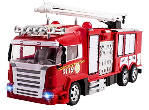 RC-Fire-Truck-Rescue-Engine-Radio-Remote-Control-w-Music-and-Flashing-Lights-Rechargeable-Battery