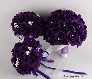 Roses Silk Flower Bouquets And Boutonnieres Wedding Package Amazon