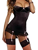 Yummy Bee Lingerie Satin Babydoll Dress Set Suspenders Underwired + Lace Stockings Plus Size 8 - 30