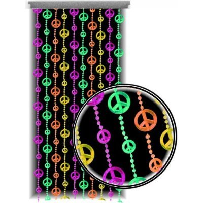 Beaded Curtain ~ Blacklight Reactive ~ Multi-Color Peace Sign Door Beads ~ Fits Standard Door Ways