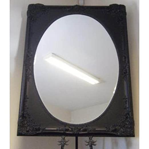 "Heavily Ornate French Black Mirror With Oval Glass (4ft 8"" x 3ft 8"")"