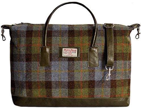 Blue-Tartan-Harris-Tweed-Genuine-Leather-Holdall-Overnight-Bag