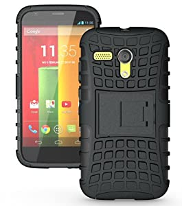 JKase DIABLO Series Tough Rugged Dual Layer Protection Case Cover with Build in Stand for Motorola Moto G SmartPhone - Retail Packaging (Black)