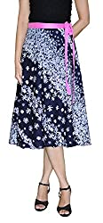 DeeVineeTi Floral Print Women's Wrap Around Skirt, Dark Blue, FreeSize
