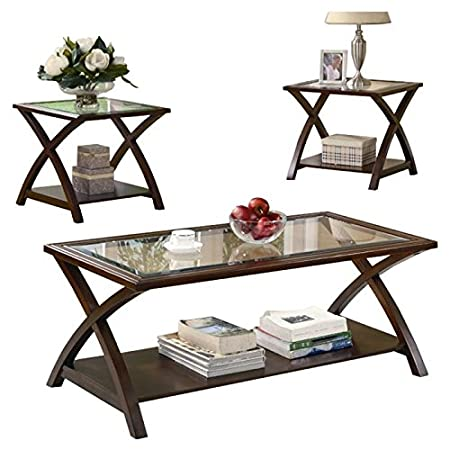 3 Piece Glass Top Coffee Table Set, Contemporary Style Coffee Table Set