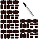 SySrion 60 Fancy Rectangle Chalkboard Sticker Variety Pack with Black Pen - Chalkboard Labels in 4 Sizes --Chalkboard Labels, Reusable Blackboard Stickers, Canning Labels, Chalk Labels, Chalkboard Canning Lid Labels (Coffee)