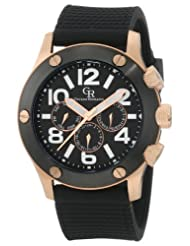 Giulio Romano Men's GR-3000-09-007 Piemonte Luminous Black Dial IP Case and Bezel Dual-Time Day-Date Black Silicone Strap Watch