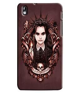 Blue Throat Girl With Skelton Printed Designer Back Cover/ Case For HTC Desire 816