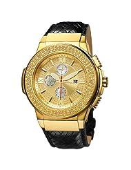 """JBW-Just Bling Men's JB-6101L-J """"Saxon"""" Gold Braided Leather Diamond Watch"""