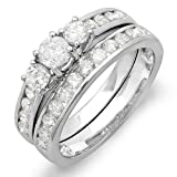 CERTIFIED 14k White Gold Round Diamond Ladies Bridal 3 Stone Ring Set Matching Band (1.50 cttw, G-H Color, SI-I Clarity)