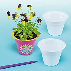 White plastic flower pots size for kids for Decorate with flowers amazon
