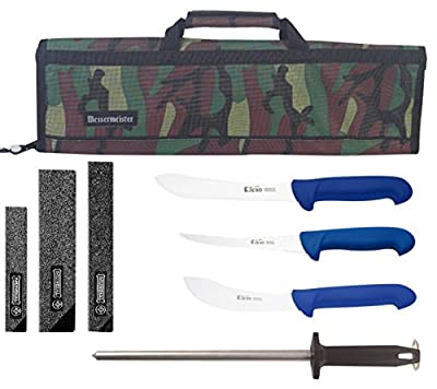 P3 Mad Cow Cutlery Jero Brand Commercial Grade Butcher Knife Set with Messermeister Camo Knife Case, 8 Piece