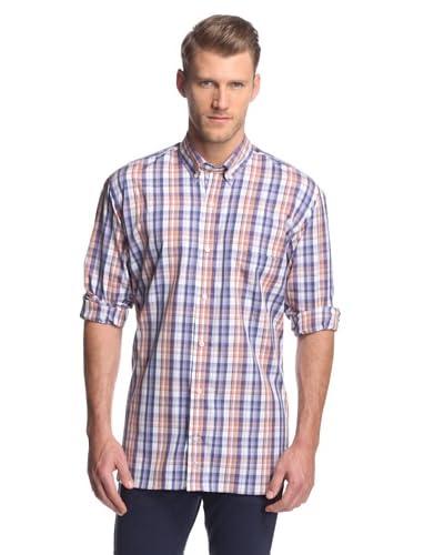 TailorByrd Men's Waves Plaid Button-Down Shirt