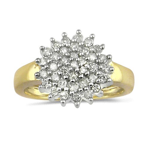 9ct Yellow Gold Ladies Classic Round Half Carat Diamond Cluster Ring - Size J