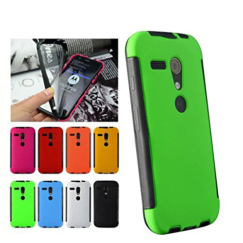 For Google Moto G 1st Gen Front + Back 2 in 1 Full Body Touch Screen Protector Hard Case Cover - GREEN