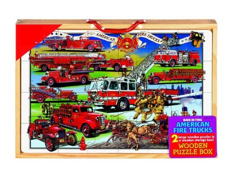 Cheap Puzzles American Fire Trucks 2 Large Wooden Puzzles 24 pc Each Hand painted in a Wooden Box (B0052MK40C)