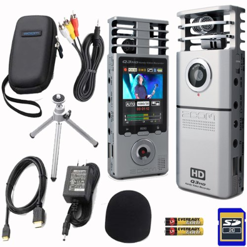 Zoom Q3HD Handheld HD High Definition Video Audio Recorder and Q3APH1 Accessory Pack Bundle