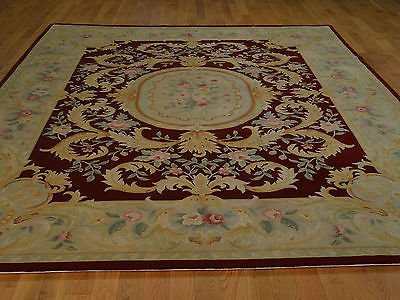 8 x 10 HAND KNOTTED BURGUNDY SAVONNERIE ORIENTAL RUG G18562