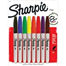 Sharpie Permanent Marker Fine Tip,Assorted Colors, 8 Pack
