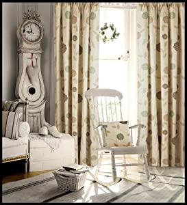 bedroom ready made fully lined curtain natural cream brown duck egg