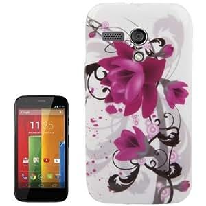 Purple Flower Pattern Smooth TPU Case for Motorola Moto G / X1032
