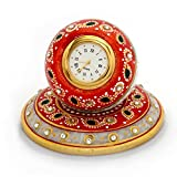 Jaipur Raga Beautiful Golden Meenakari Work Marble Made Ball Shape Table Clock