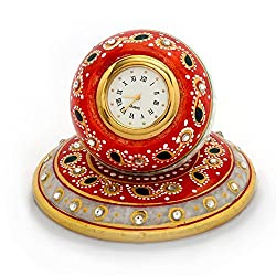 Little India Beautiful Golden Meenakari Work Marble Table Clock (384, White)