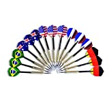Emarth 15pack Tip Darts with National Flag Flights (5 Styles) - Stainless Steel Needle + Brass Barrels + PVC Shafts Flags
