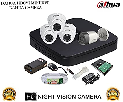 Dahua-DH-HCVR4104C-S2-4CH-Dvr,-3(DH-HAC-HDW1000RP)-Dome,-1(DH-HAC-HFW1000RP)-Bullet-Cameras-(With-Accessories,500GB-HDD)