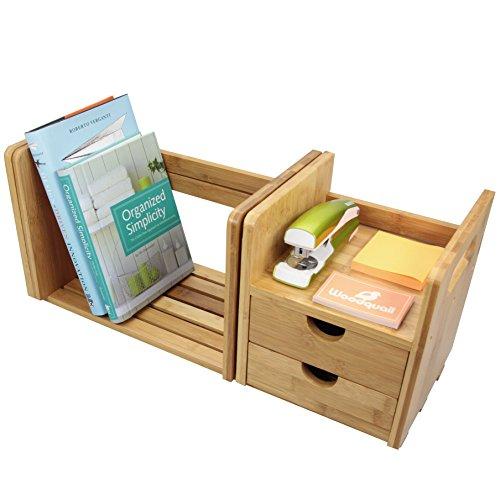 Bureau Bibliothèque Extensible Réglable avec 2 Tiroirs Organiseur de Bureau en Bambou