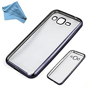 CZap Meephone Electroplated Edge Soft Transparent Case Back Cover for Samsung Galaxy E5 - Black