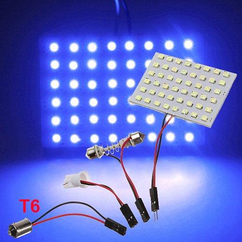 48 Led Blue 3528 Smd Car Light Panel T10 Festoon Ba9S Adapter