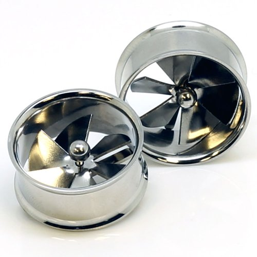 """Stainless Steel Spinner Pinwheel Double Flared Ear Gauge Plug Tunnel ~ 1"""" ~ 25Mm ~ Sold As A Pair"""