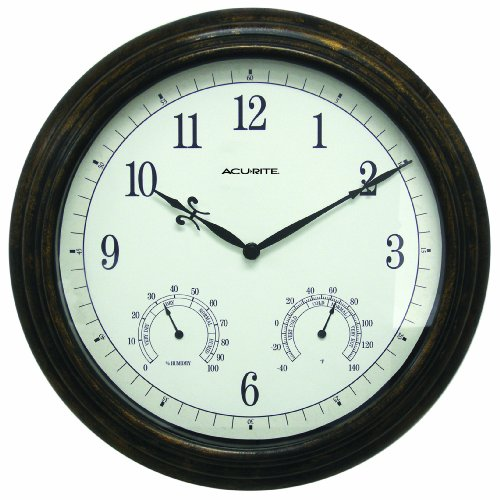 Chaney Instruments Acu-Rite 50378 Aged Bronze Wall Clock with Thermometer and Humidity Gauge