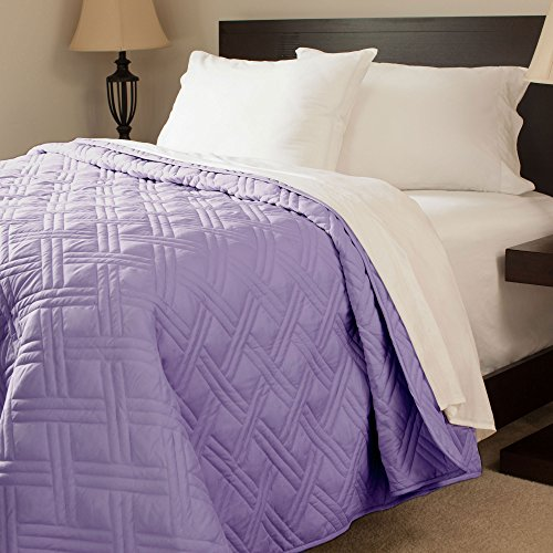 Lavish Home Solid Color Bed Quilt, Twin, Purple front-829974