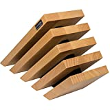 Artelegno Magnetic Knife Block Solid Beech Wood 5 Panel, Natural with Black Accents