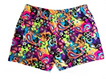 Neon Paisley Shorts (4 In. Adult S 4-6, Neon Paisley)