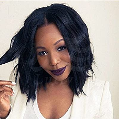 LUFFY Wig 7a Brazilian Virgin Human Hair Lace Front Wig Glueless Short Bob Wavy with Baby Hair for Black Women 130 Density Natural Color