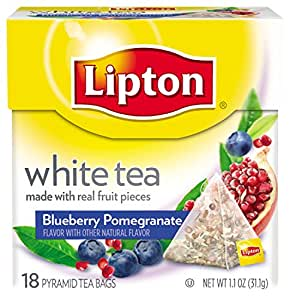 Lipton Pyramid Tea Bags, White With Blueberry Pomegranate, 18-Count Tea Bags (Pack of 6)