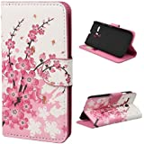 2014 New Wallet Pu Leather Magnetic Flip Hard Case Cover Stand for Motorola Moto G (White peach)