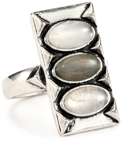 House of Harlow 1960 Silver-Plated Moonstone and Labradorite Ring, Size 8
