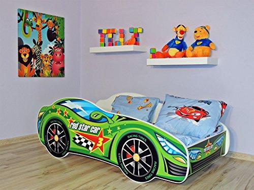 Letto singolo BAMBINO CAMERETTA LETTINO AUTO bambini con materasso !!! (AUTO VERDE)
