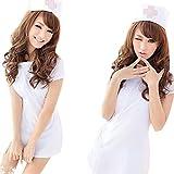 (R-Dream) 萌え萌え ナース 看護婦 コスプレ 衣装 3点セット ミニスカート ボタンタイプ 選べる2色 (ホワイト)