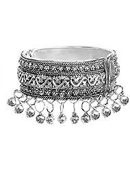 DollsofIndia Metal Hinge Bracelet With Metal Beads - Metal - White - B00VMBGYAG