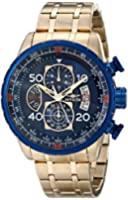 Invicta Aviator Men's Quartz Watch with Blue Dial  Chronograph display on Gold Stainless Steel Plated Bracelet 19173